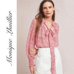Monique Lhuillier Floral Printed Neck Tie Blouse